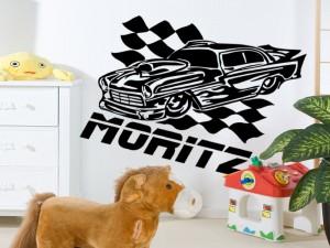 733 0 wandtattoo rennwagen wunschname 300x225 Auto Wandtattoos für kleine Autofans