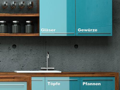 Eigene Wandtattoo Beschriftungen für Küchenschränke