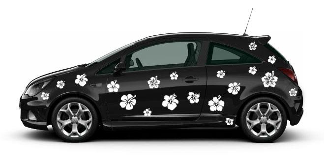 Hibiskus Blüte 10 x 10 cm JDM Decal Sticker Auto Car Weiß Scheibenaufkleber
